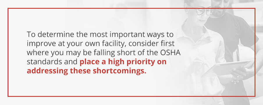 Consider where you may be falling short of the OSHA standards and place a high priority on addressing these shortcomings.