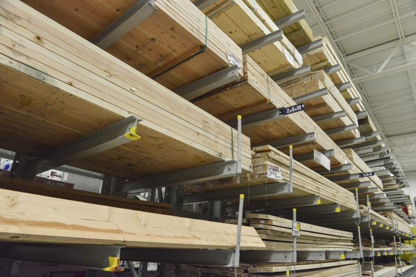 Ross Technology Industrial Storage Cantilever Racking Systems in Lowe's retail lumber section.
